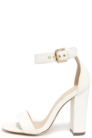 Galleria White Ankle Strap Heels at Lulus.com!