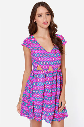 Sitting Print-y Purple Print Dress