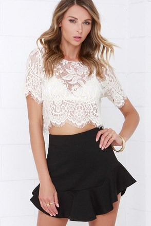 Frills and Thrills Black Mini Skirt at Lulus.com!
