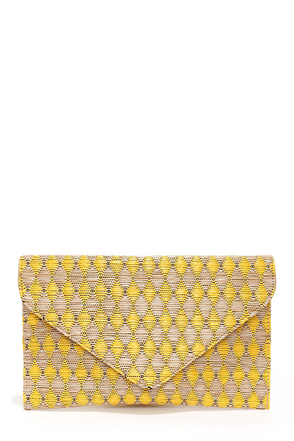 Weave Around Beige and Yellow Clutch