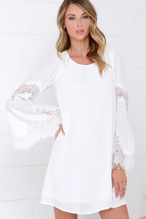Jolly-Well Ivory Lace Swing Dress at Lulus.com!