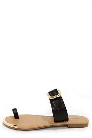 City Classified Fedora Black Slide Sandals