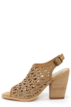 Very Volatile Daisy Girl Tan Leather Cutout Heels
