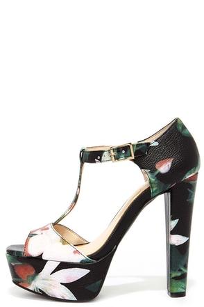 Jessica Simpson Adelinah Black Multi Floral Platform Heels at Lulus.com!