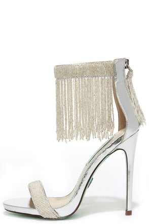 Blue by Betsey Johnson Grand Silver Beaded Dress Sandals at Lulus.com!