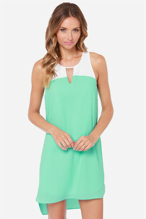 Yacht to Trot Ivory and Mint Shift Dress