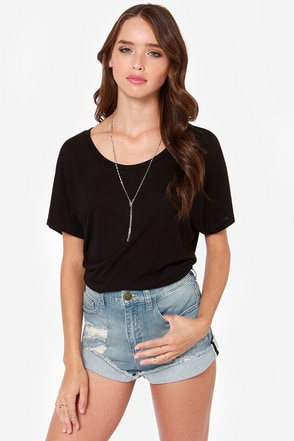Short Shrift Distressed High-Waisted Jean Shorts