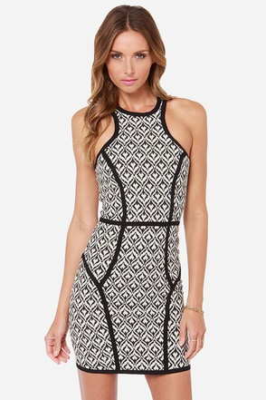 Not What It Seams Ivory and Black Print Dress