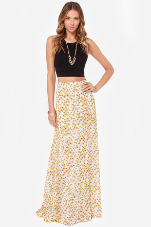 Daisy If You Do Ivory Floral Print Maxi Skirt