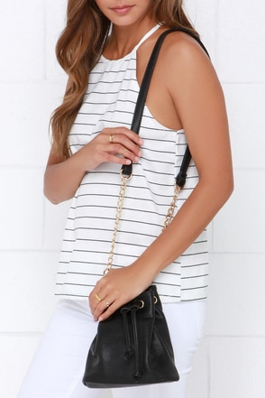 Spare Change Black Mini Bucket Bag at Lulus.com!