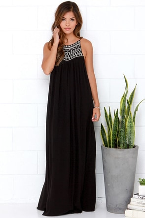 Amuse Society Lotus Black Beaded Maxi Dress at Lulus.com!
