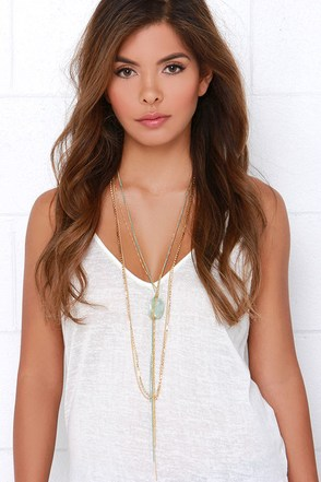 Stone's Throw Away Gold and Blue Layered Necklace at Lulus.com!