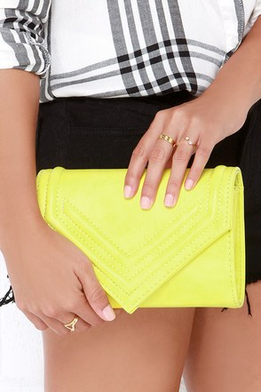 You Got a Point Lemon Yellow Clutch at Lulus.com!