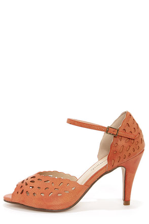 City Classified Kasey Orange Laser Cut Ankle Strap Heels