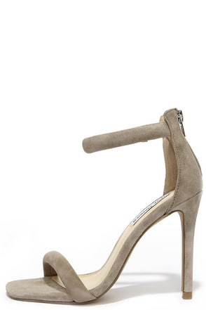 Steve Madden Fancci Taupe Suede Ankle Strap Heels at Lulus.com!