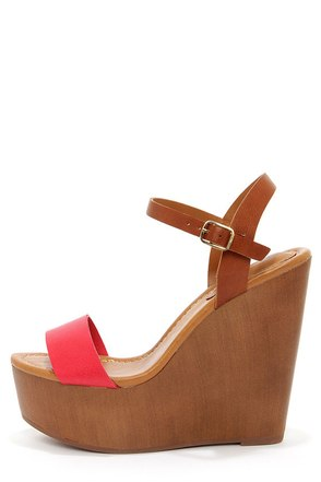 Emily 34 Peach and Tan Platform Wedge Sandals