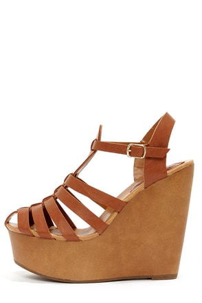 Carol 22 Tan Caged Platform Wedge Sandals