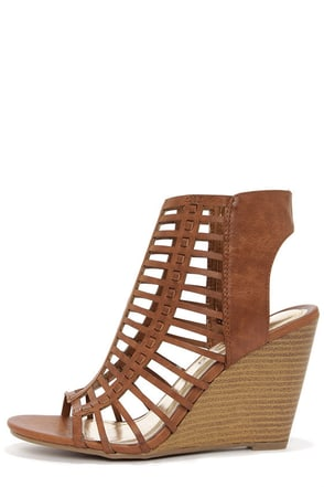 Madden Girl Coasterr Cognac Cutout Wedge Booties