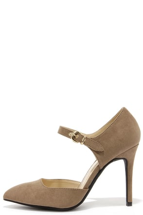Intermission Taupe Suede Pointed Ankle Strap Heels at Lulus.com!