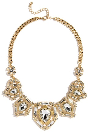 Tear Up Gold Rhinestone Statement Necklace at Lulus.com!