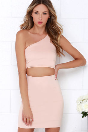 Diagonal Artistry Blush Pink One Shoulder Dress at Lulus.com!