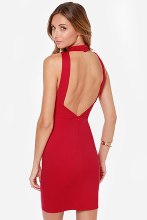 Only You Backless Red Bodycon Dress