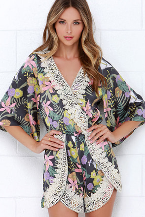 I. Madeline Midnight Blooms Grey Print Lace Romper at Lulus.com!