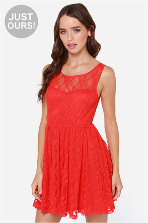LULUS Exclusive Little Lady Coral Red Lace Dress