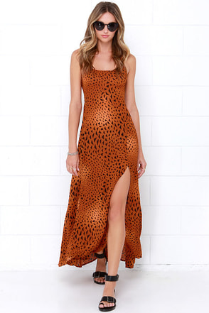 Billabong Mystify Rust Orange Print Maxi Dress at Lulus.com!