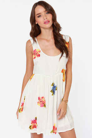 O'Neill Paly Ivory Floral Print Babydoll Dress