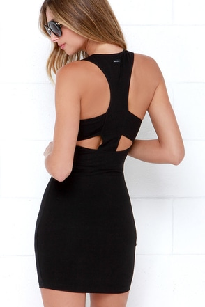 RVCA Stratta Black Bodycon Dress at Lulus.com!