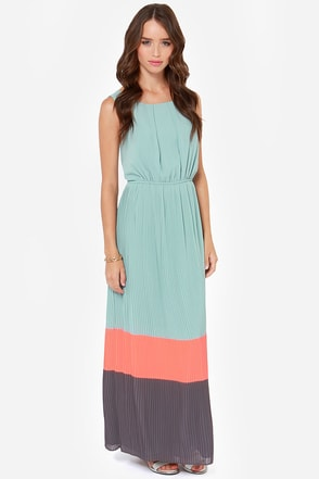 Darling Justina Seafoam Color Block Maxi Dress