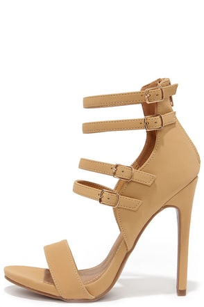 Four-One-One Camel Caged Heels at Lulus.com!
