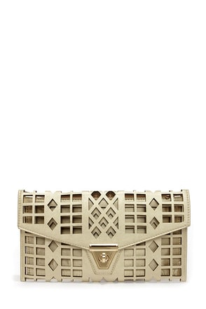 Geo du Jour Cutout Gold Clutch
