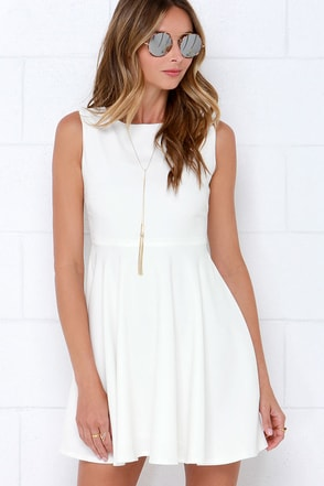 Glamorous Always and Flare-ever Ivory Skater Dress at Lulus.com!