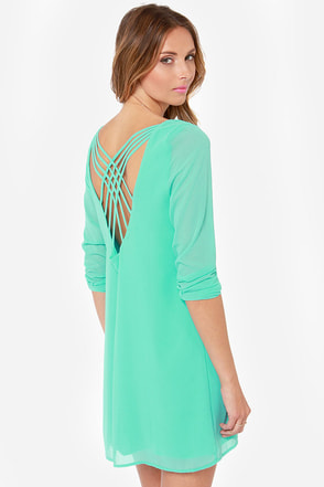 Lattice Dance Sea Green Shift Dress