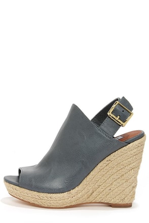 Steve Madden Corizon Blue Slate Espadrille Wedge Sandals