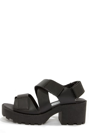 67 Outsider 76109 Sibel Vachetta Black Platform Sandals