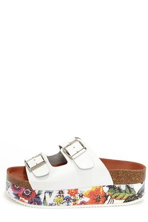 Sixtyseven 76107 Cara Vachetta White Floral Flatform Sandals