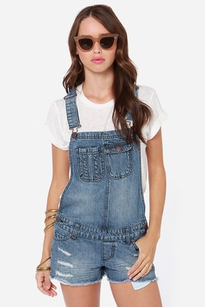 O'Neill Evie Distressed Denim Overalls