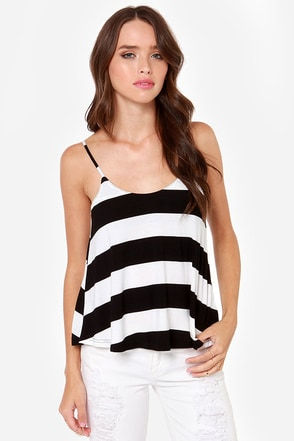 When the Mood Stripes Black and Ivory Striped Tank Top