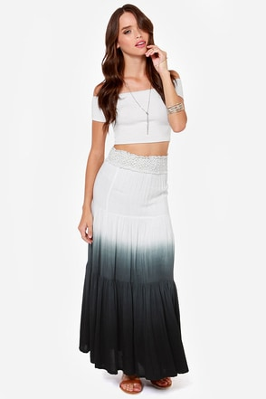 Stormy Tides Ivory and Black Ombre Maxi Skirt