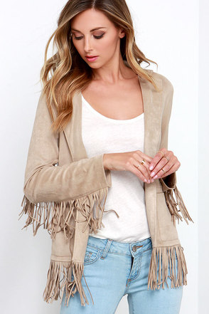 Glamorous Peace Love Beige Fringe Jacket at Lulus.com!