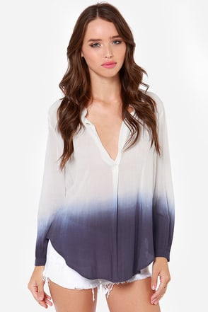 Maid in the Fade Ivory and Blue Ombre Top