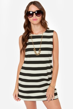 Gettin' Twiggy With It Black and Ivory Striped Mini Dress