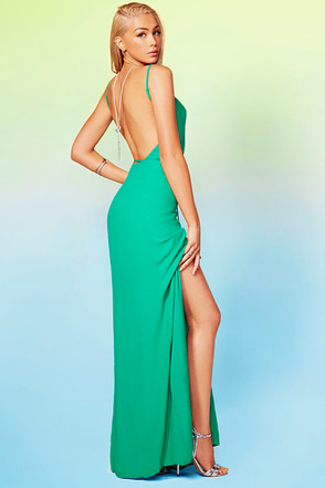 Shoreside Vision Green Backless Maxi Dress at Lulus.com!