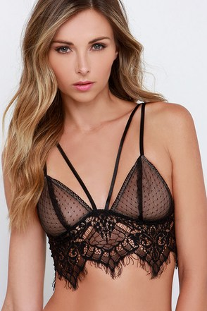 All the Night Moves Black Lace Bralette at Lulus.com!