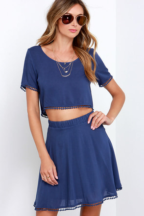 Lovely Com-Beau Denim Blue Two-Piece Dress at Lulus.com!