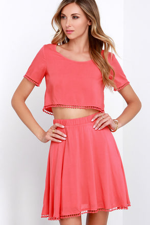 Lovely Com-Beau Coral Two-Piece Dress at Lulus.com!