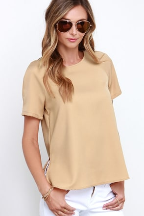 Glamorous Dancing Dunes Beige Short Sleeve Top at Lulus.com!